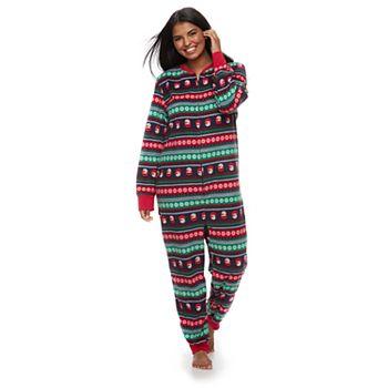 Women's Plus Jammies For Your Families Snowman Fairisle One-Piece Fleece Pajamas