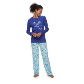 "Women's Jammies For Your Families ""Gone to the Beach Love, Santa"" Top & Starfish Pattern Bottoms Pajama Set"