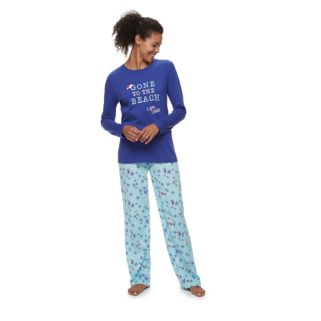 """Women's Jammies For Your Families """"Gone to the Beach Love, Santa"""" Top & Starfish Pattern Bottoms Pajama Set"""