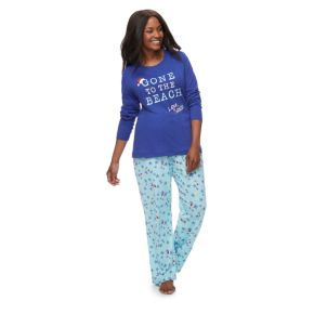 """Women's Plus Jammies For Your Families """"Gone to the Beach Love, Santa"""" Top & Starfish Pattern Bottoms Pajama Set"""