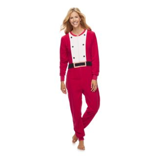 Women's Jammies For Your Families Santa Suit One-Piece Fleece Pajamas