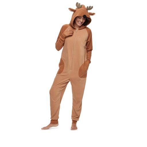 Women's Jammies For Your Families Reindeer 3D Antler One-Piece Fleece Pajamas