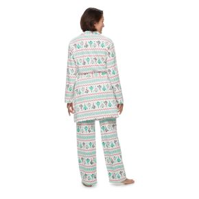 Women's Jammies For Your Families Christmas Tree Microfleece Robe