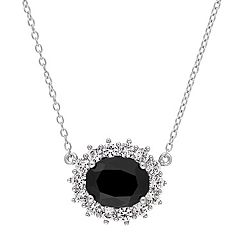 Stella Grace Sterling Silver Black Sapphire & Lab-Created White Sapphire Oval Halo Pendant