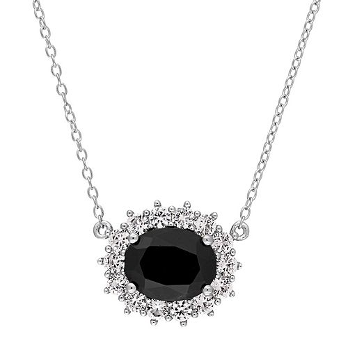 Sterling Silver Black Sapphire & Lab-Created White Sapphire Oval Halo Pendant