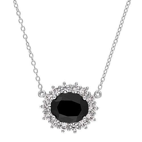 Stella Grace Sterling Silver Black Sapphire & Lab-Created White Sapphire Oval Halo Pendant
