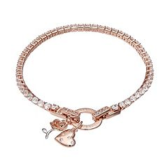 Dovetail Rose Gold Tone 'Life is Beautiful' Cubic Zirconia Tennis Bracelet