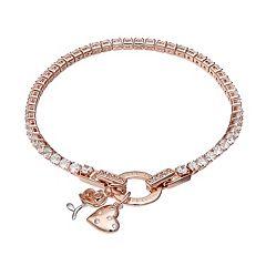 Dovetail Rose Gold Tone 'Life is Beautiful' Cubic Zirconia Tennis Bracelet