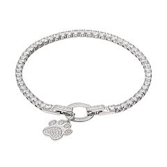 Dovetail Silver Plated Paw Print Cubic Zirconia Tennis Bracelet