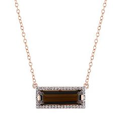 Sterling Silver Smoky Quartz & White Sapphire Rectangle Pendant