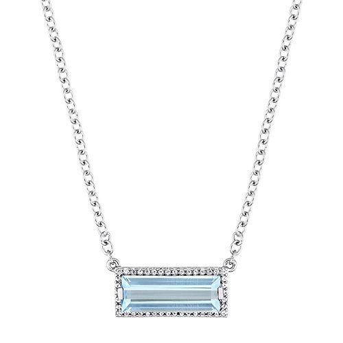 Stella Grace Sterling Silver Blue Topaz & White Sapphire Rectangle Pendant