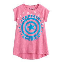 Girls 7-16 Marvel Captain America High-Low Foil Graphic Tee