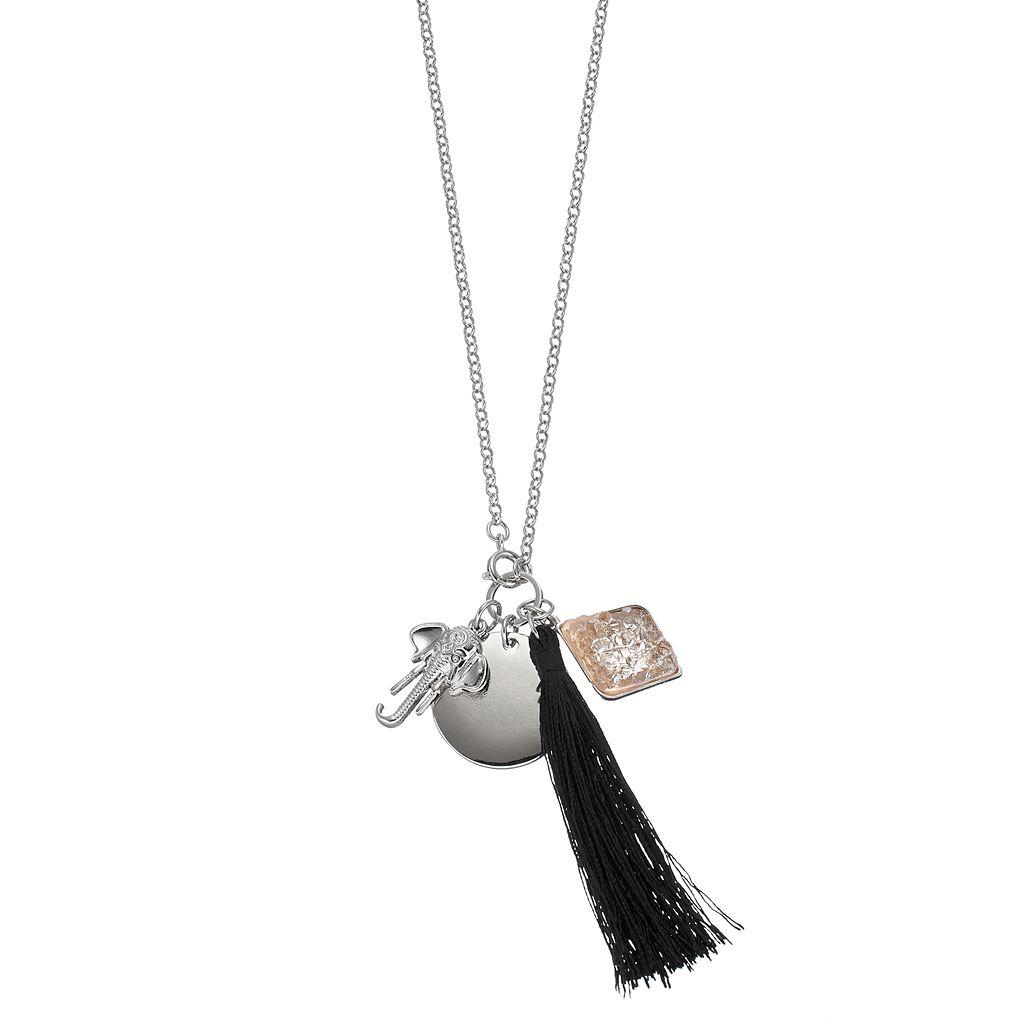 Mudd® Elephant & Tassel Charm Necklace