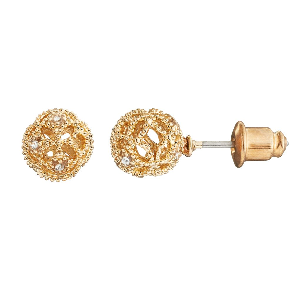 LC Lauren Conrad Openwork Ball Stud Earrings