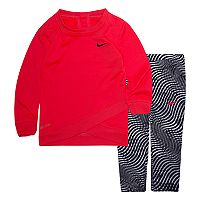 Baby Girl Nike Dri-FIT Graphic Sweatshirt & Leggings Set