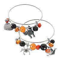 Black Cat, Spider & Witch Charm Beaded Bangle Bracelet Set