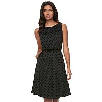 Women's ELLE™ Polka-Dot Fit & Flare Dress
