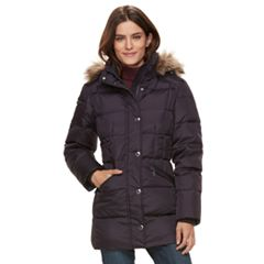 Women's TOWER by London Fog Hooded Faux-Fur Trim Puffer Jacket