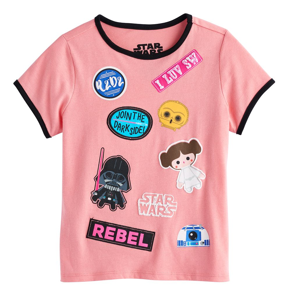 Girls 7-16 Star Wars Darth Vader, Princess Leia, R2-D2 & C-3PO Cartoon Graphics & Patches Tee