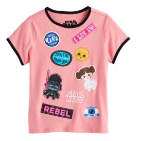 Girls 7-16 Star Wars Darth Vader, Princess Leia, R2-D2 & C-3PO Cartoon Graphics & Patches Tee