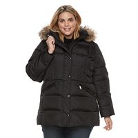 Plus Size TOWER by London Fog Hooded Faux-Fur Trim Puffer Jacket