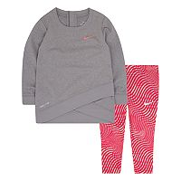 Baby Girl Nike Dri-FIT Graphic Sweatshirt & Print Leggings Set