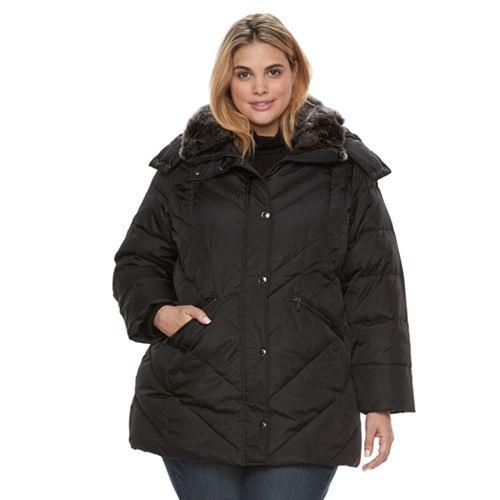 edd582377 Plus Size TOWER by London Fog Faux-Fur Trim Puffer Coat