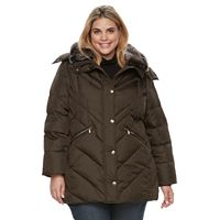Plus Size TOWER by London Fog Faux-Fur Trim Puffer Coat