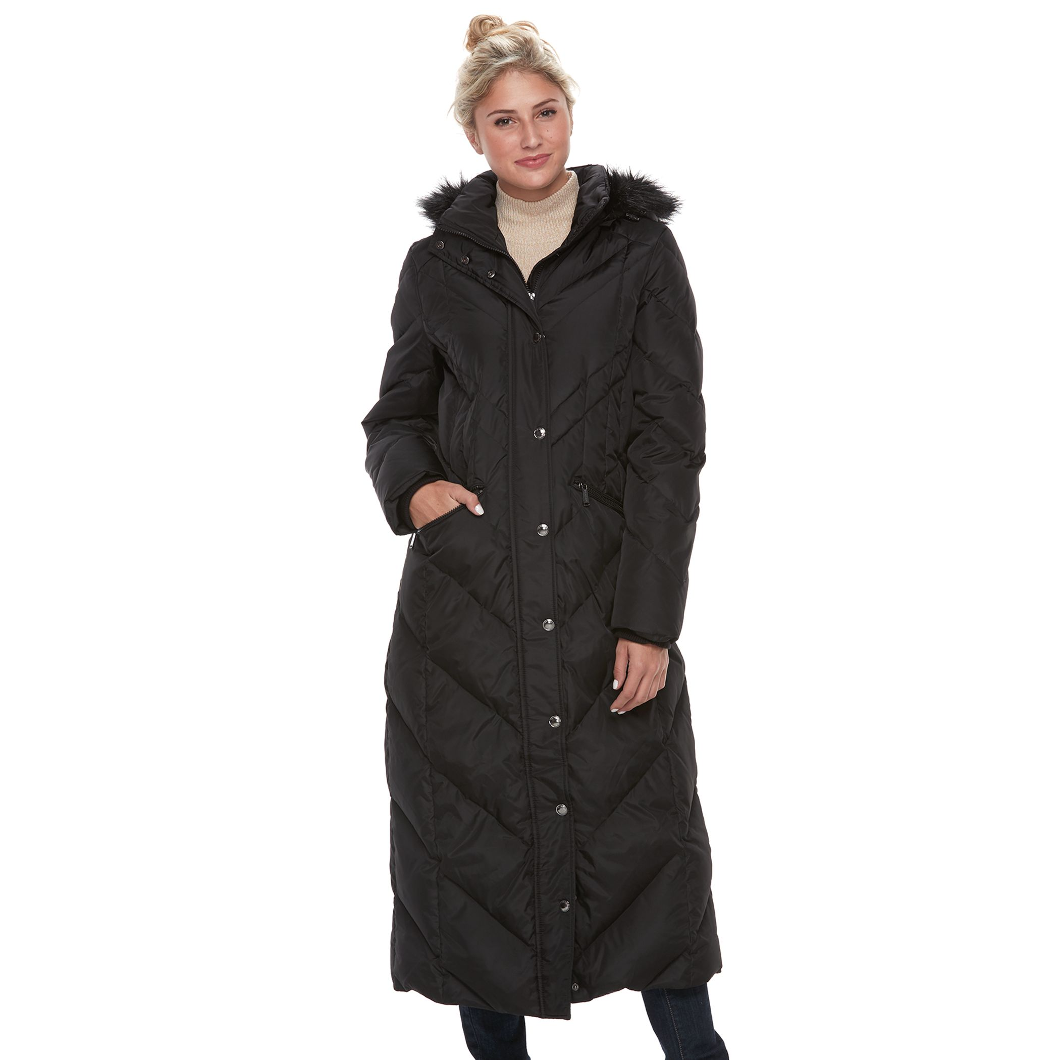 Womens black puffer jacket with fur hood