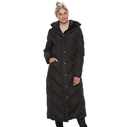 Women's TOWER by London Fog Faux Fur Trim Down Long Puffer