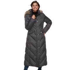 Women's TOWER by London Fog Faux-Fur Trim Down Long Puffer Jacket