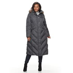 Plus Size TOWER by London Fog Faux-Fur Trim Down Long Puffer Jacket