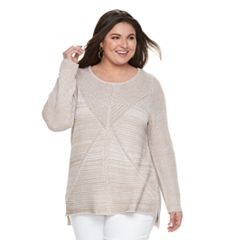 Plus Size Dana Buchman Mixed-Stitch Crewneck Sweater