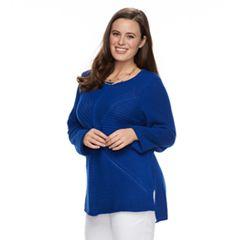 Plus Size Dana Buchman Mixed-Stitch Crewneck Sweater