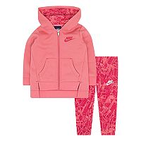 Baby Girl Nike Fleece Hoodie & Geometric Leggings Set