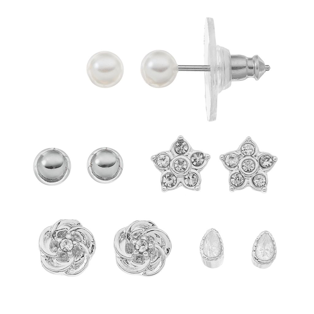 LC Lauren Conrad Star & Flower Stud Earring Set