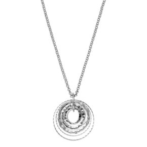 Hammered Concentric Circle Pendant Necklace
