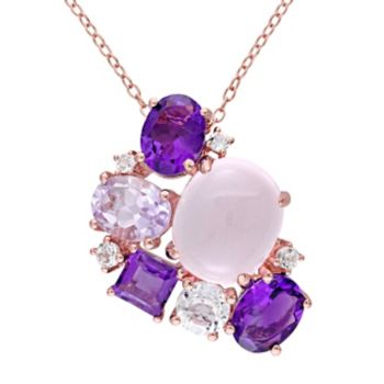 Stella Grace Sterling Silver Rose Quartz & Gemstone  Cluster Pendant