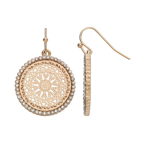 LC Lauren Conrad Openwork Medallion Drop Earrings