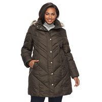 Plus Size TOWER by London Fog Down Faux-Fur Trim Puffer Jacket