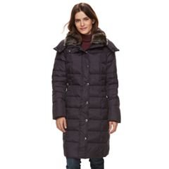 Women's TOWER by London Fog Long Faux-Fur Trim Down Puffer Jacket