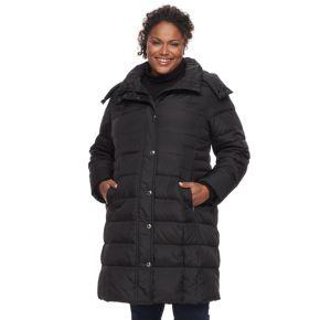 Plus Size TOWER by London Fog Long Faux-Fur Trim Down Puffer Jacket