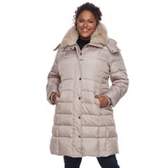 Plus Size TOWER by London Fog Long Faux-Fur Trim Down Puffer Jacket