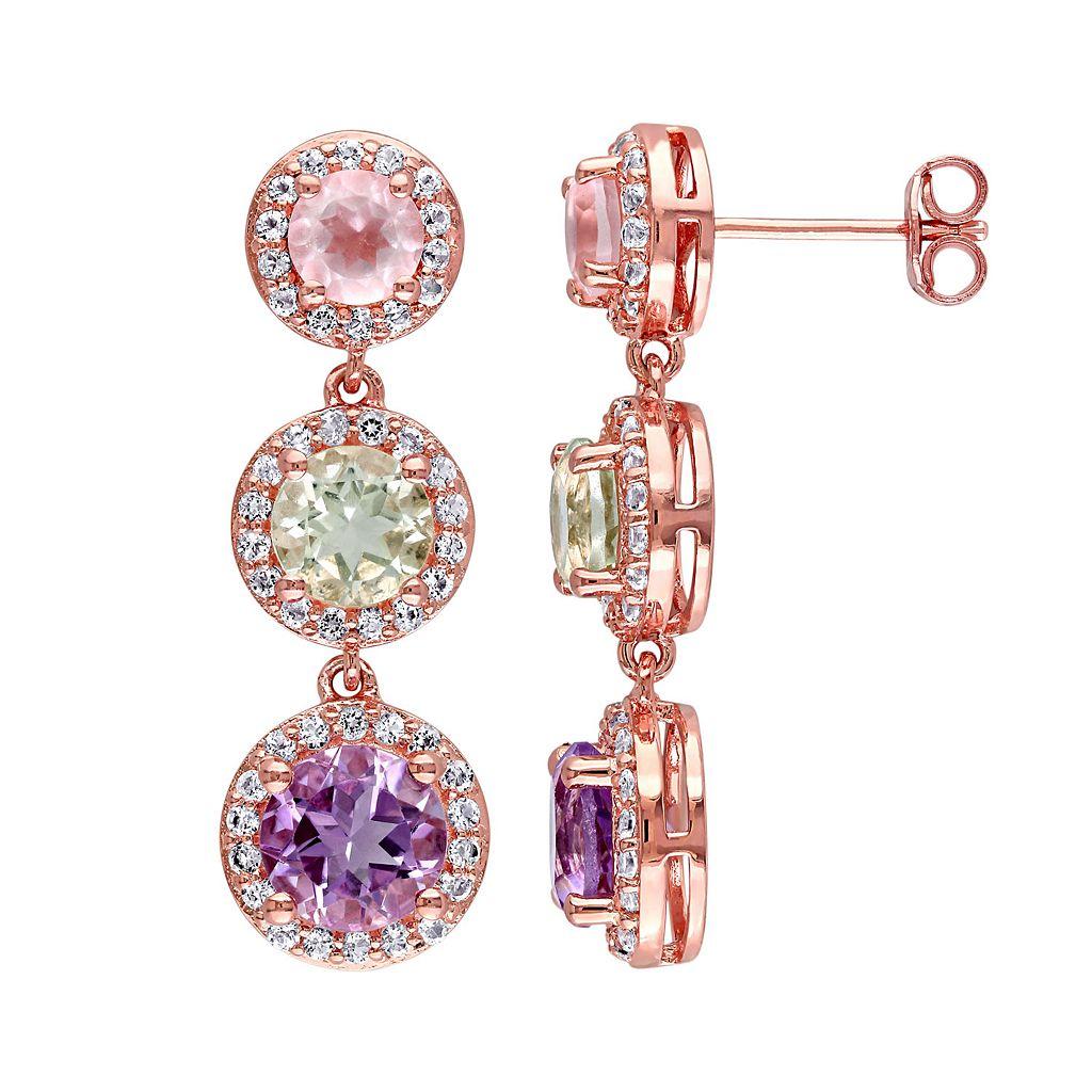 Sterling Silver Gemstone 3-Stone Drop Earrings