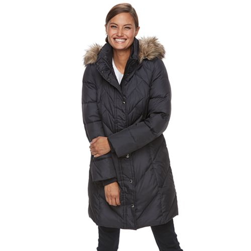 Women's Tower by London Fog Quilted Faux Fur Trim Down Coat