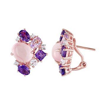 Sterling Silver Rose Quartz & Gemstone Cluster Stud Earrings