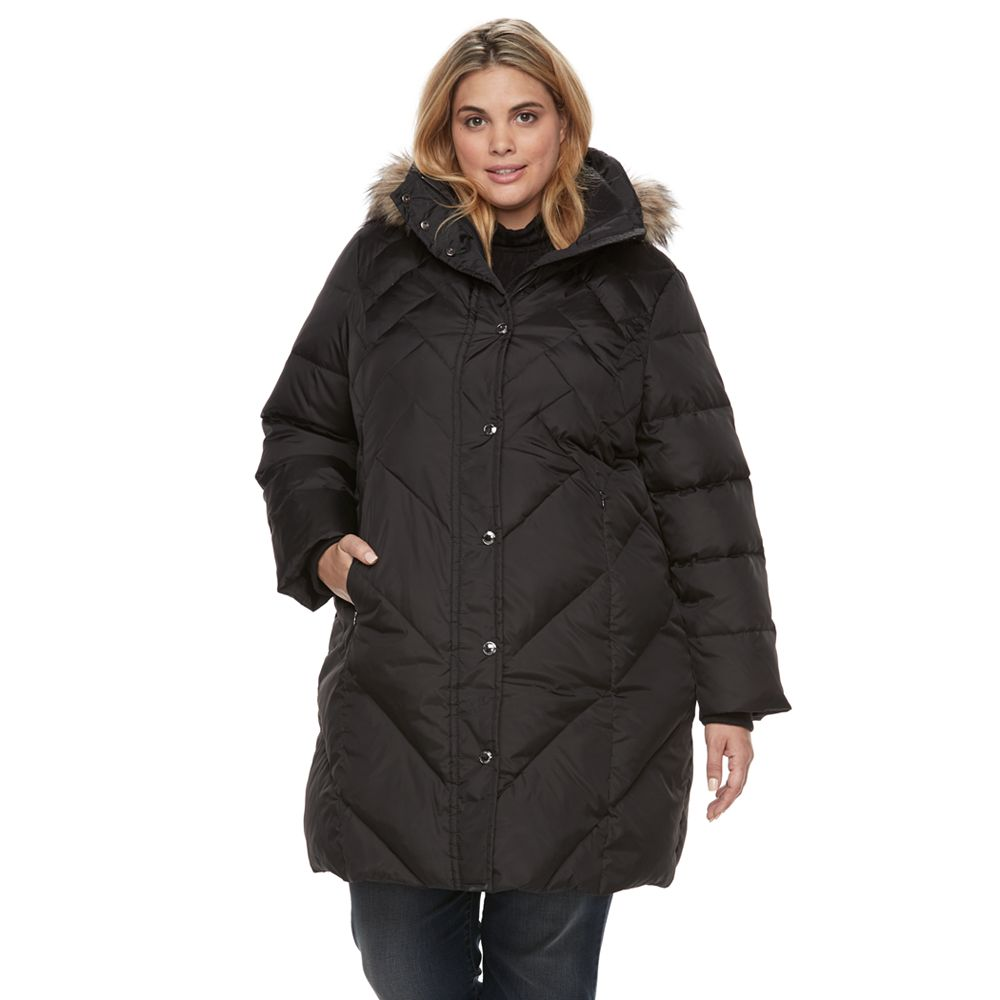 Plus Size Tower by London Fog Quilted Faux Fur Trim Coat