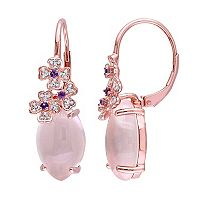 Sterling Silver Rose Quartz Amethyst & White Topaz Flower Drop Earrings