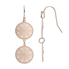 LC Lauren Conrad Filigree Double Disc Drop Earrings