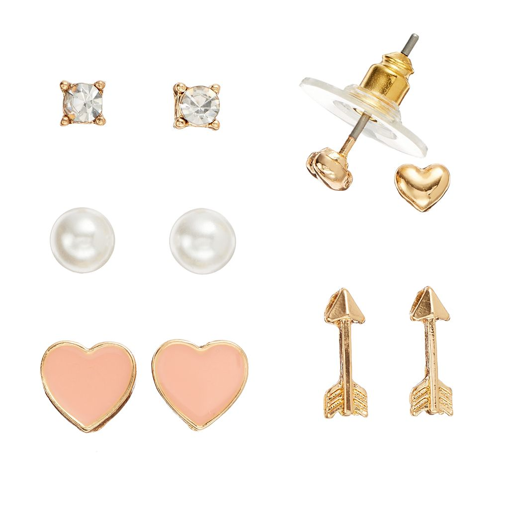 LC Lauren Conrad Arrow & Heart Stud Earring Set